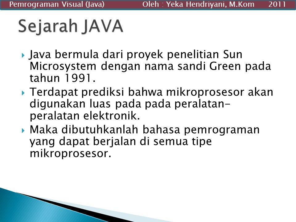  Java bermula dari proyek penelitian Sun Microsystem dengan nama sandi Green pada tahun 1991.  Terdapat prediksi bahwa mikroprosesor akan digunakan