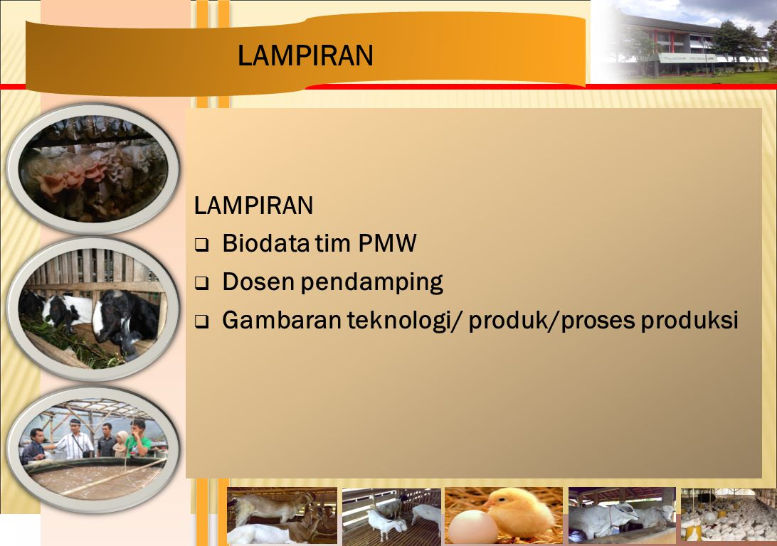 LAMPIRAN  Biodata tim PMW  Dosen pendamping  Gambaran teknologi/ produk/proses produksi LAMPIRAN