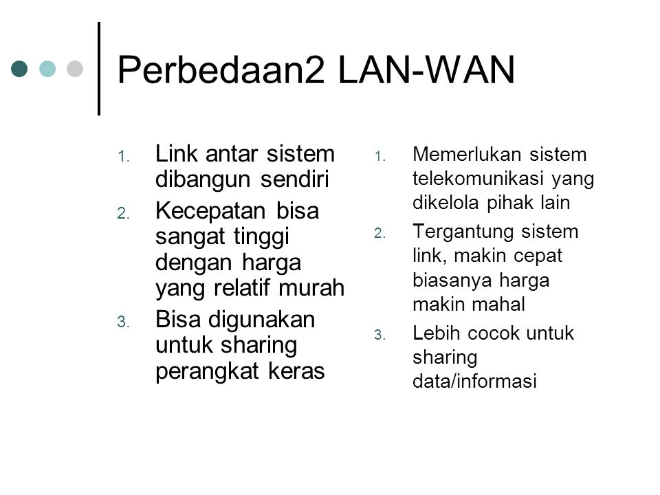 Perbedaan2 LAN-WAN 1. Link antar sistem dibangun sendiri 2.
