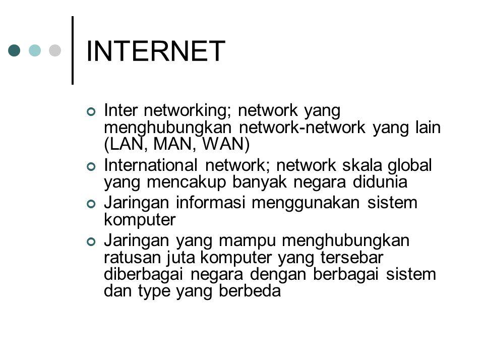 INTERNET Inter networking; network yang menghubungkan network-network yang lain (LAN, MAN, WAN) International network; network skala global yang mencakup banyak negara didunia Jaringan informasi menggunakan sistem komputer Jaringan yang mampu menghubungkan ratusan juta komputer yang tersebar diberbagai negara dengan berbagai sistem dan type yang berbeda