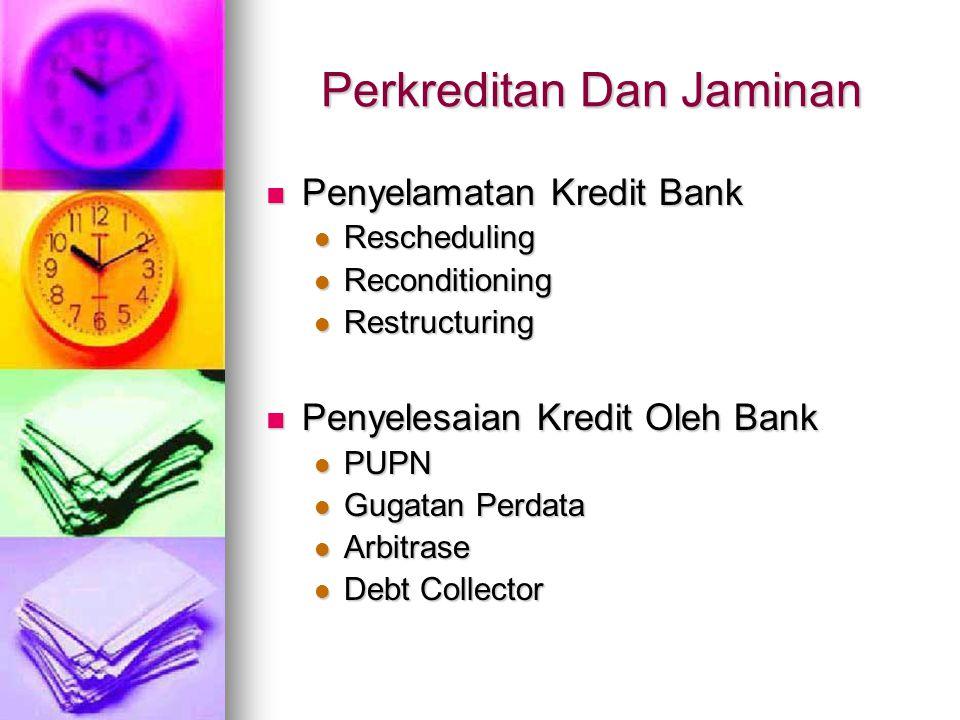 Perkreditan Dan Jaminan Penyelamatan Kredit Bank Penyelamatan Kredit Bank Rescheduling Rescheduling Reconditioning Reconditioning Restructuring Restru