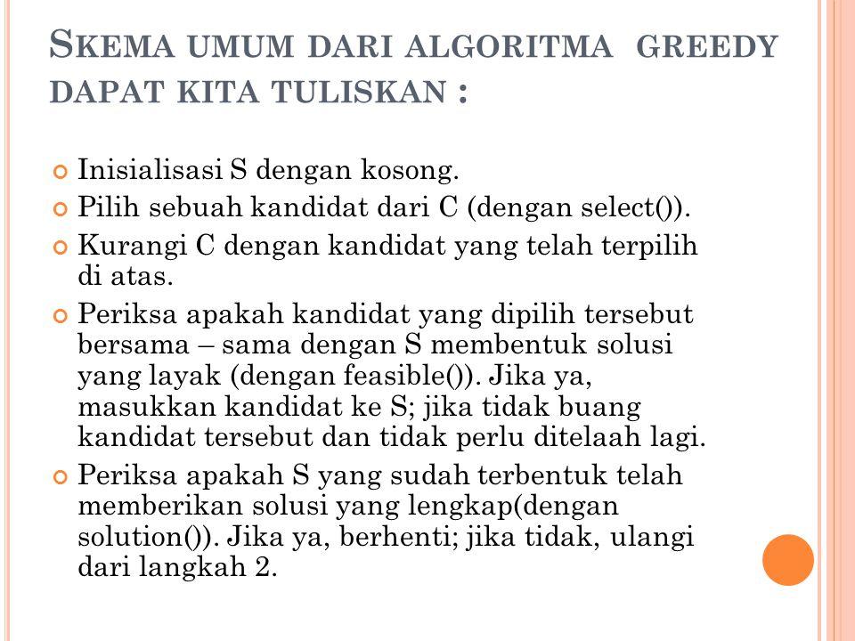 S KEMA UMUM DARI ALGORITMA GREEDY DAPAT KITA TULISKAN : Inisialisasi S dengan kosong. Pilih sebuah kandidat dari C (dengan select()). Kurangi C dengan