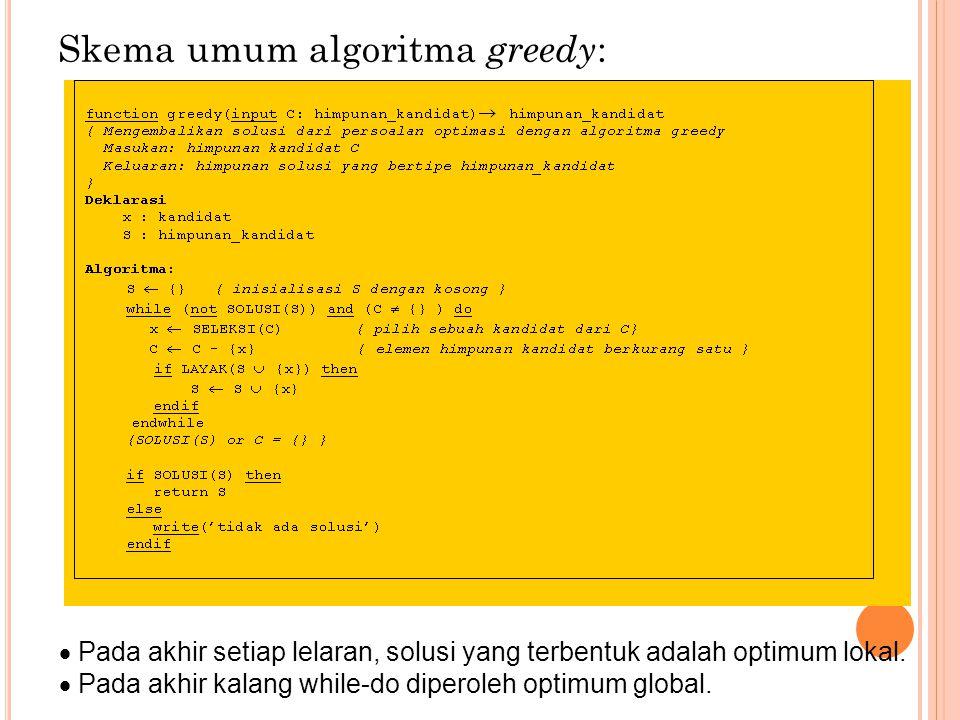 Skema umum algoritma greedy :  Pada akhir setiap lelaran, solusi yang terbentuk adalah optimum lokal.  Pada akhir kalang while-do diperoleh optimum