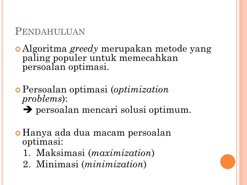 Contoh persoalan optimasi: ( Masalah Penukaran Uang) : Diberikan uang senilai A.