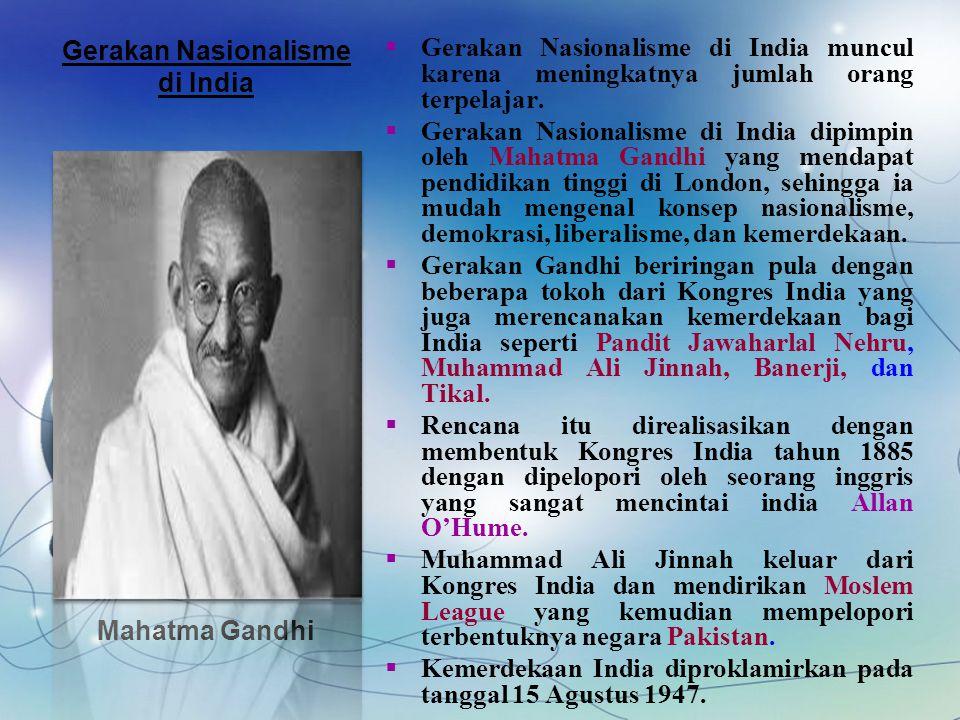 4 Konsep Utama Perjuangan Mahatma Gandhi  Sikap Anti kekerasan (Non- Violent)  Tidak bekerjasama dengan penjajah kolonial Inggris  Aksi pemogokan kerja para buruh atau rakyat india  Aksi pemboikotan terhadap produk- poduk buatan Inggris,khusunya tekstil AHIMSA SATYAGRAHA HARTAL SWADESI