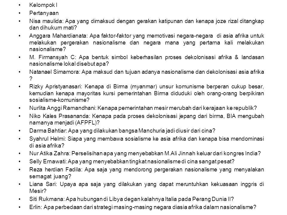 Kelompok I Pertanyaan Nisa maulida: Apa yang dimaksud dengan gerakan katipunan dan kenapa joze rizal ditangkap dan dihukum mati.