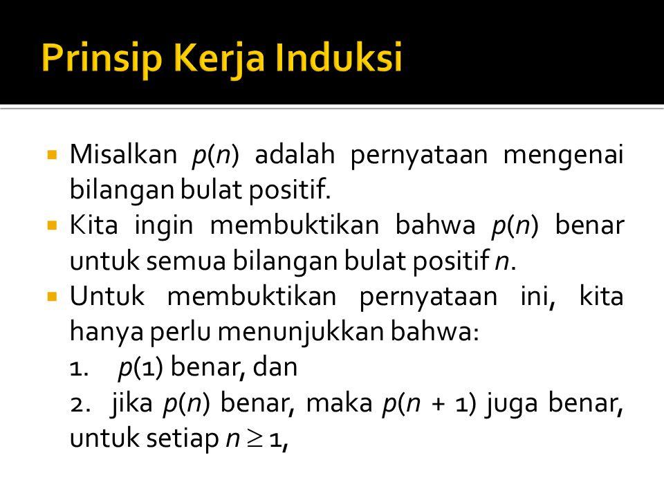  Langkah 1 dinamakan langkah basis, langkah 2 dinamakan langkah induksi.