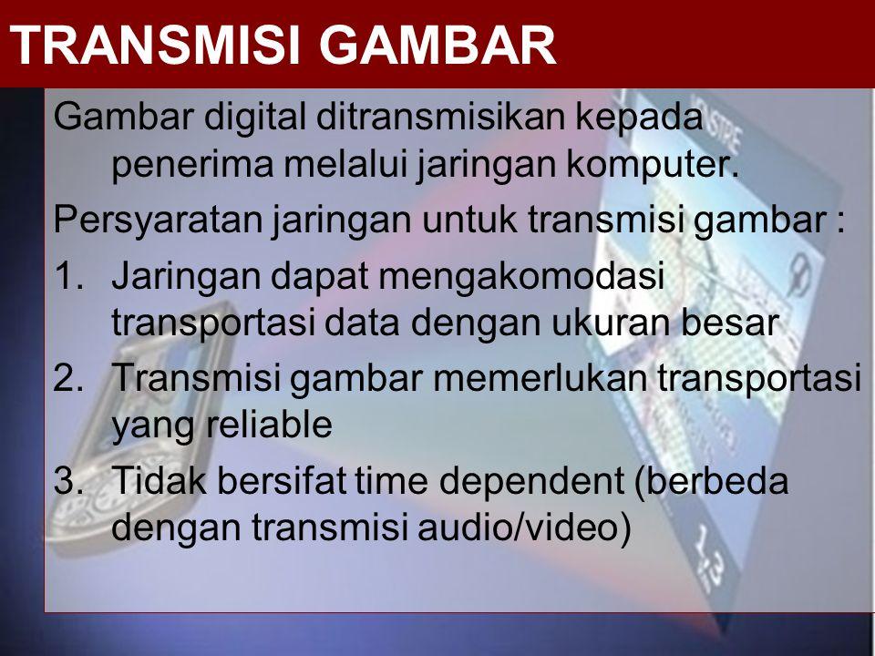 Gambar digital ditransmisikan kepada penerima melalui jaringan komputer. Persyaratan jaringan untuk transmisi gambar : 1.Jaringan dapat mengakomodasi
