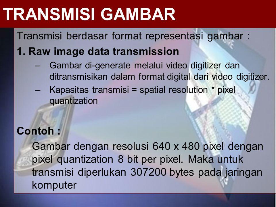 Transmisi berdasar format representasi gambar : 1. Raw image data transmission –Gambar di-generate melalui video digitizer dan ditransmisikan dalam fo