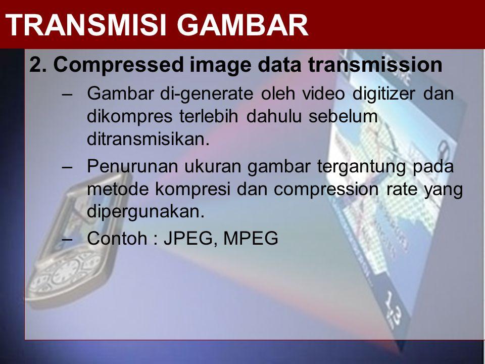 2. Compressed image data transmission –Gambar di-generate oleh video digitizer dan dikompres terlebih dahulu sebelum ditransmisikan. –Penurunan ukuran