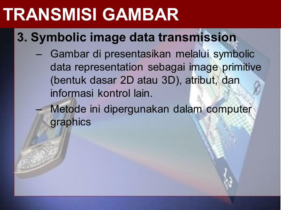 3. Symbolic image data transmission –Gambar di presentasikan melalui symbolic data representation sebagai image primitive (bentuk dasar 2D atau 3D), a