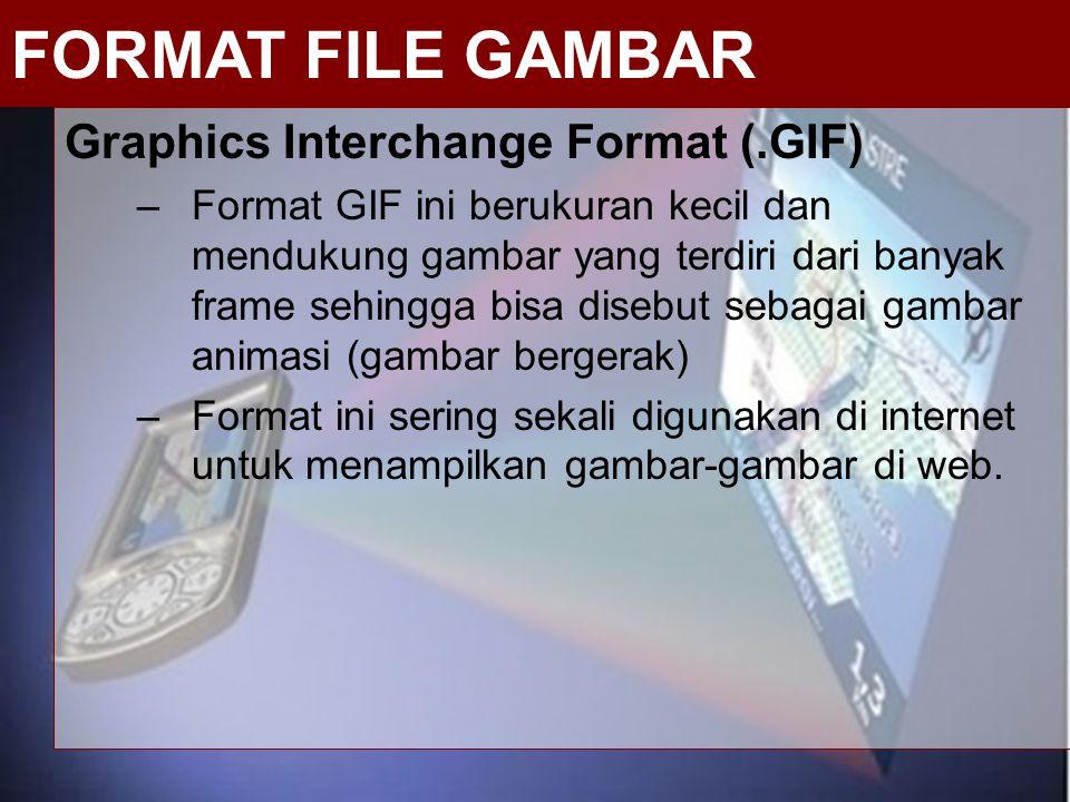 Graphics Interchange Format (.GIF) –Format GIF ini berukuran kecil dan mendukung gambar yang terdiri dari banyak frame sehingga bisa disebut sebagai g