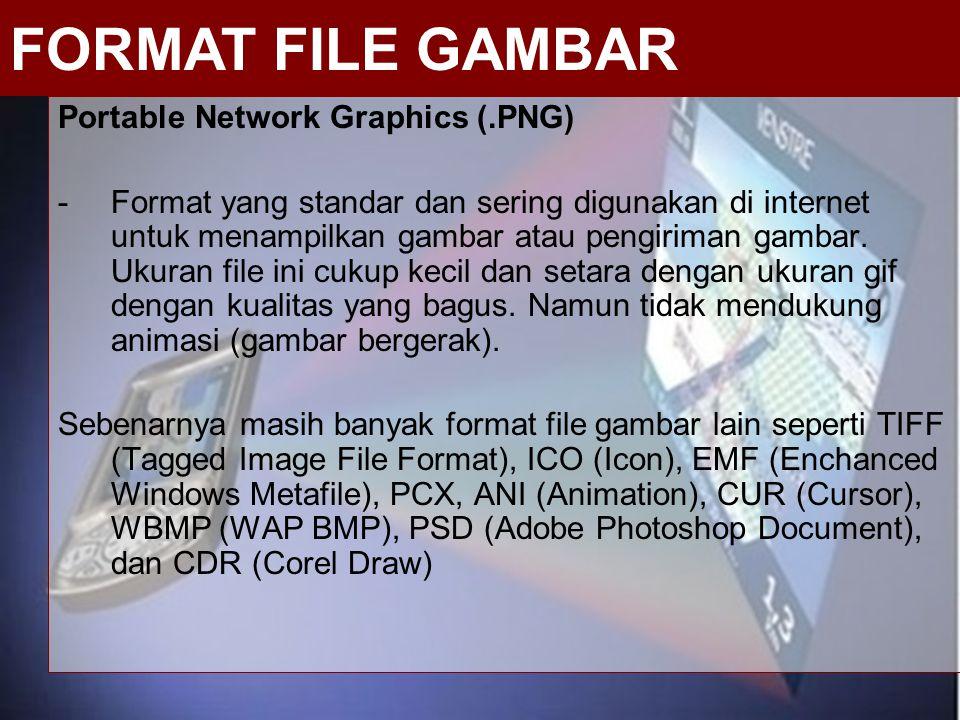Portable Network Graphics (.PNG) -Format yang standar dan sering digunakan di internet untuk menampilkan gambar atau pengiriman gambar. Ukuran file in
