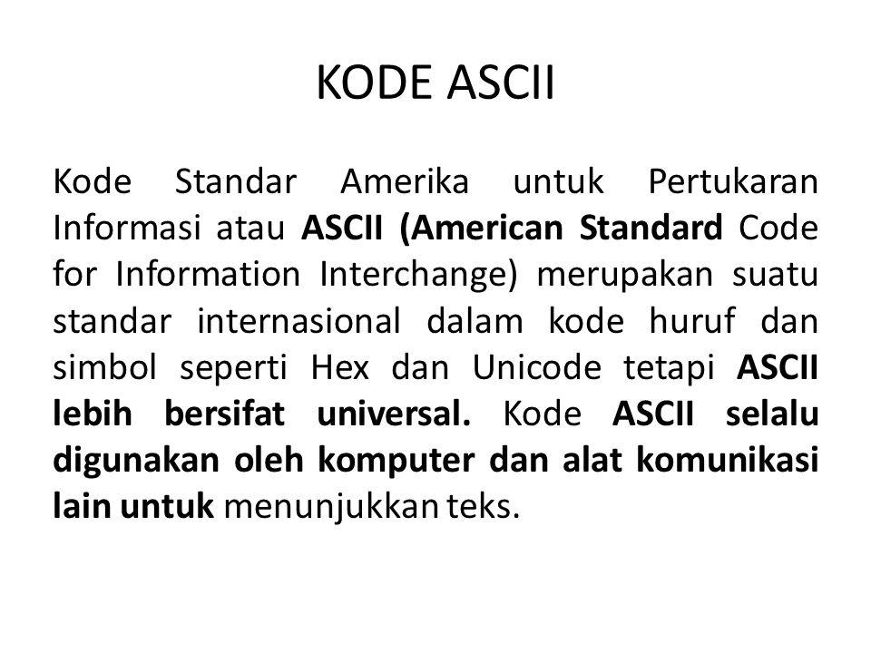 KODE ASCII Kode Standar Amerika untuk Pertukaran Informasi atau ASCII (American Standard Code for Information Interchange) merupakan suatu standar int