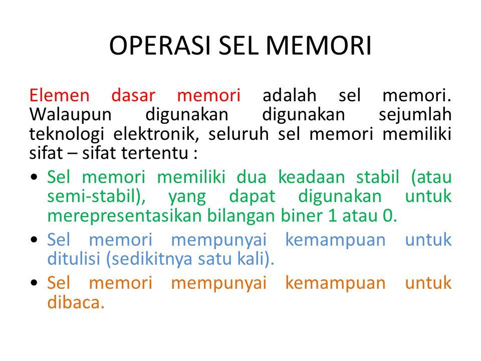 OPERASI SEL MEMORI Elemen dasar memori adalah sel memori. Walaupun digunakan digunakan sejumlah teknologi elektronik, seluruh sel memori memiliki sifa