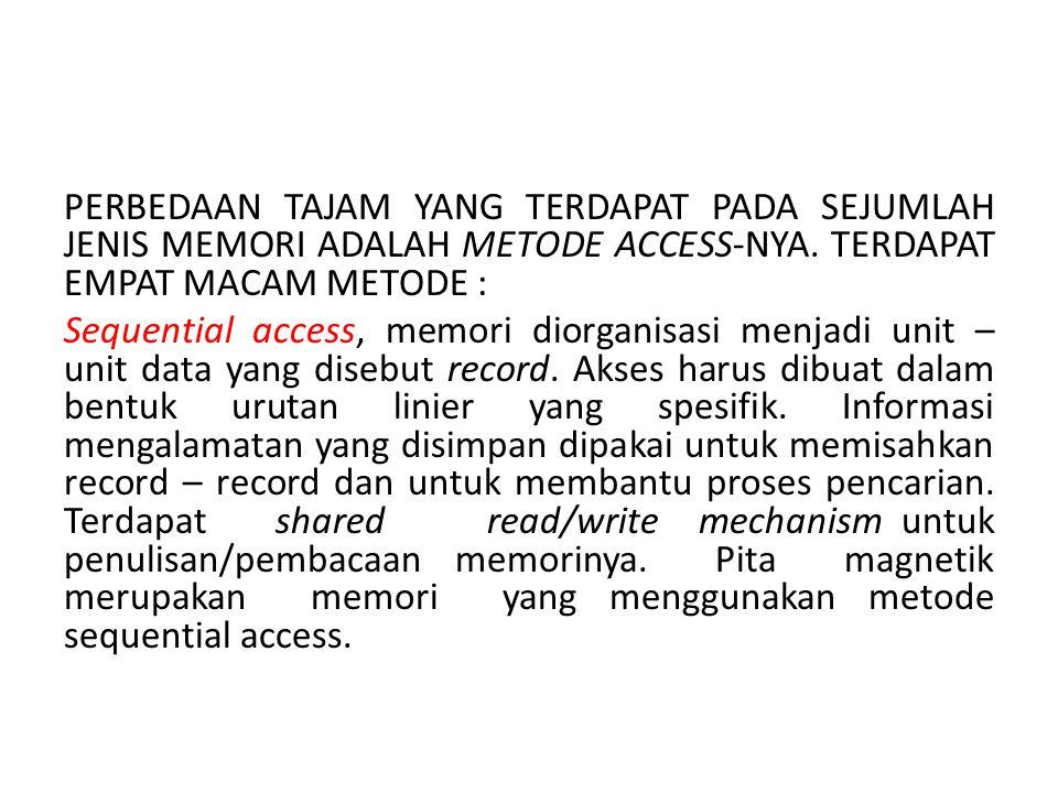 PERBEDAAN TAJAM YANG TERDAPAT PADA SEJUMLAH JENIS MEMORI ADALAH METODE ACCESS-NYA. TERDAPAT EMPAT MACAM METODE : Sequential access, memori diorganisas