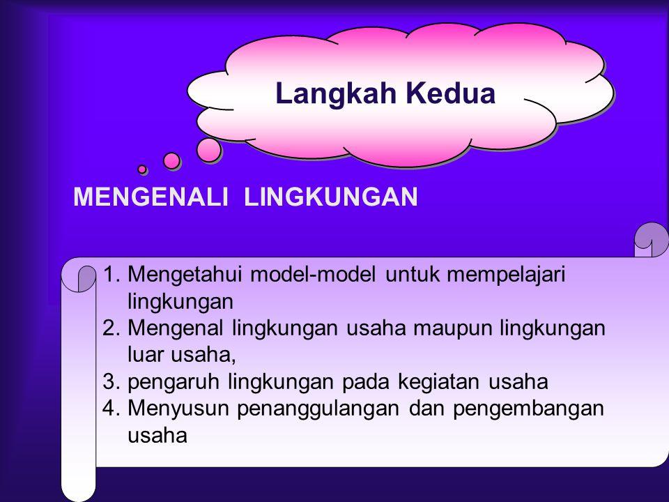 1.Mengetahui model-model untuk mempelajari lingkungan 2.Mengenal lingkungan usaha maupun lingkungan luar usaha, 3.pengaruh lingkungan pada kegiatan us