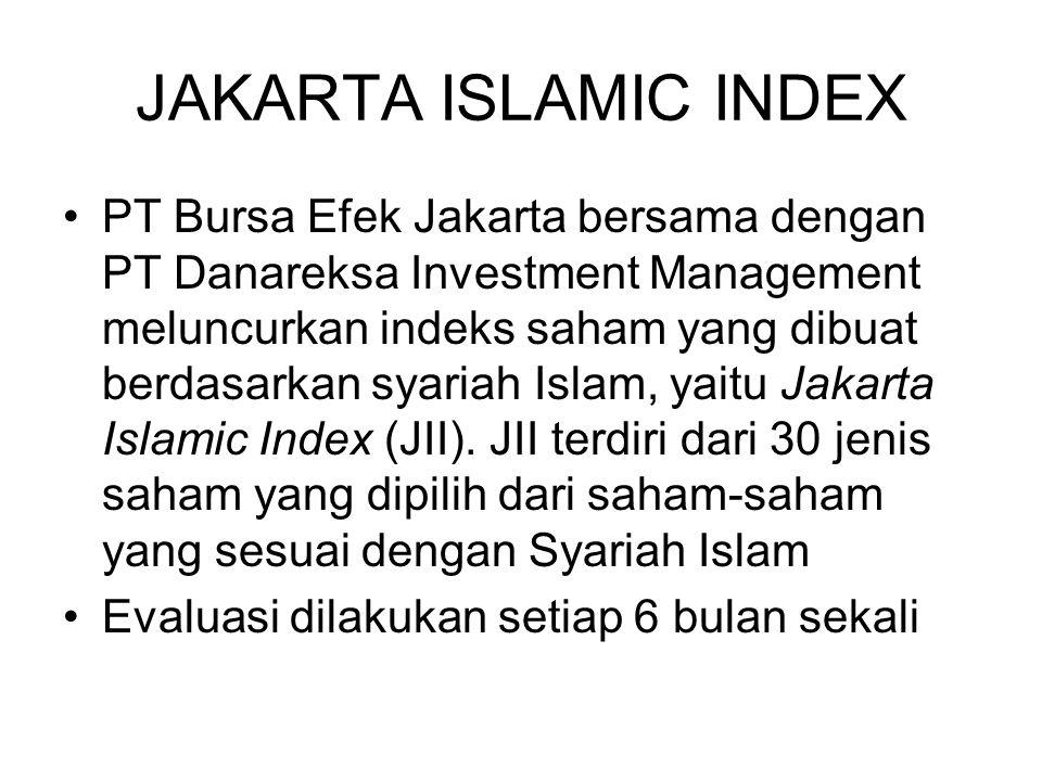 JAKARTA ISLAMIC INDEX PT Bursa Efek Jakarta bersama dengan PT Danareksa Investment Management meluncurkan indeks saham yang dibuat berdasarkan syariah