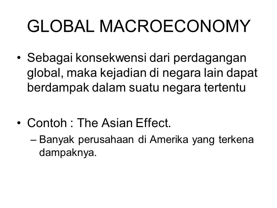 GLOBAL MACROECONOMY Sebagai konsekwensi dari perdagangan global, maka kejadian di negara lain dapat berdampak dalam suatu negara tertentu Contoh : The