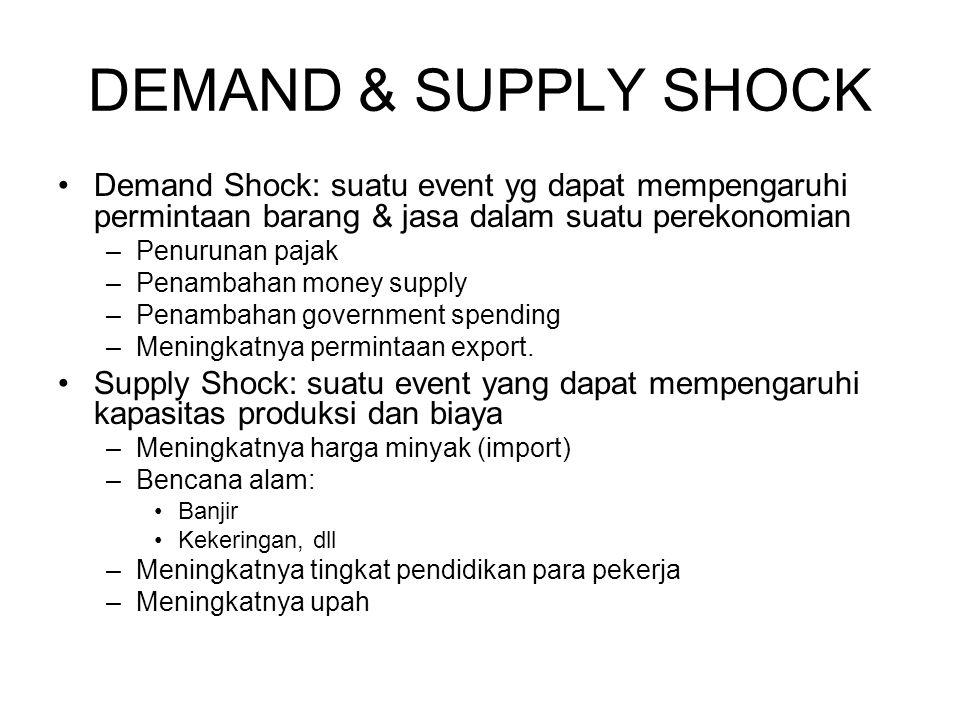 DEMAND & SUPPLY SHOCK Demand Shock: suatu event yg dapat mempengaruhi permintaan barang & jasa dalam suatu perekonomian –Penurunan pajak –Penambahan m