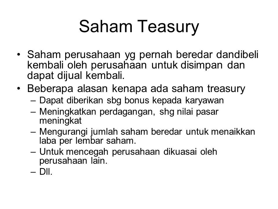 Saham Teasury Saham perusahaan yg pernah beredar dandibeli kembali oleh perusahaan untuk disimpan dan dapat dijual kembali. Beberapa alasan kenapa ada
