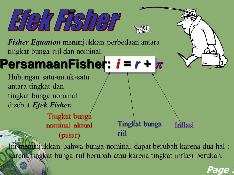 Powerpoint Templates Page 21 Fisher Equation menunjukkan perbedaan antara tingkat bunga riil dan nominal. PersamaanFisher: i = r +  Tingkat bunga nom