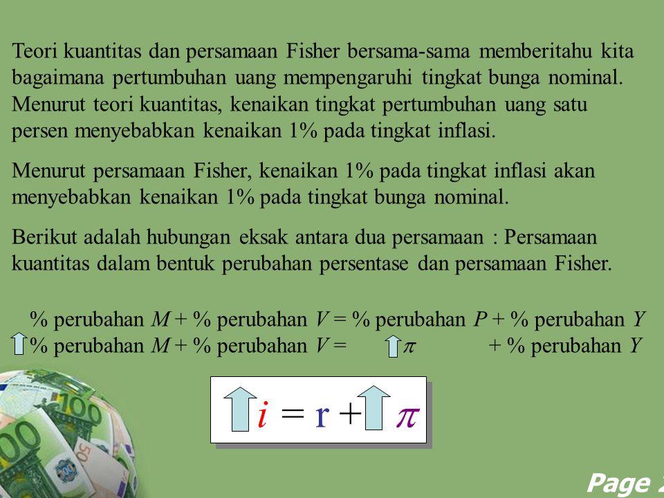 Powerpoint Templates Page 22 % perubahan M + % perubahan V = % perubahan P + % perubahan Y % perubahan M + % perubahan V =  + % perubahan Y i = r + 