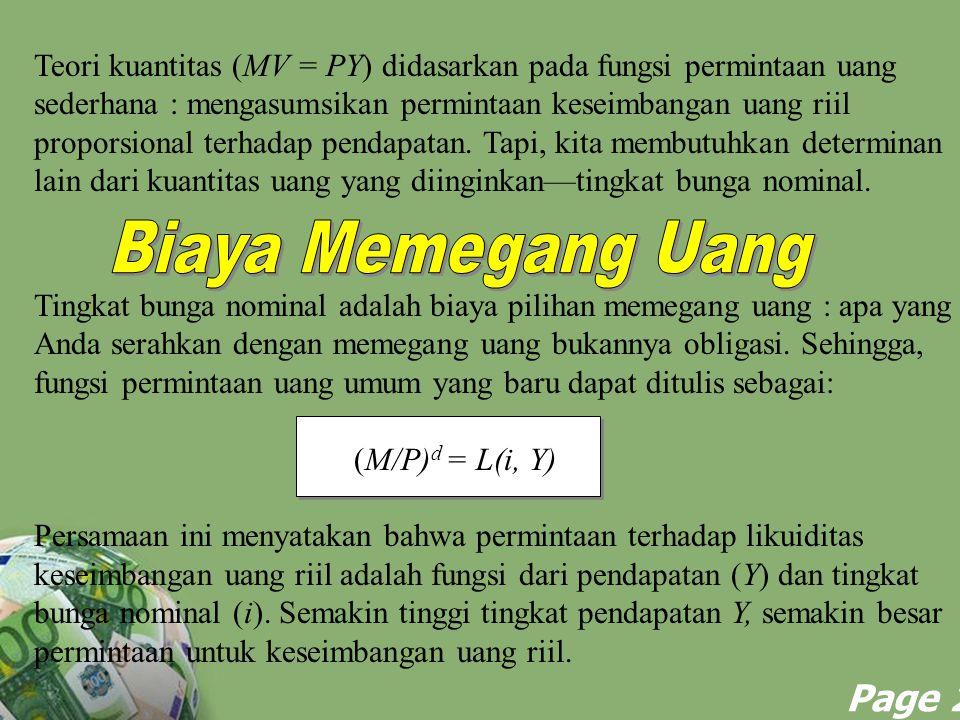 Powerpoint Templates Page 25 Teori kuantitas (MV = PY) didasarkan pada fungsi permintaan uang sederhana : mengasumsikan permintaan keseimbangan uang r