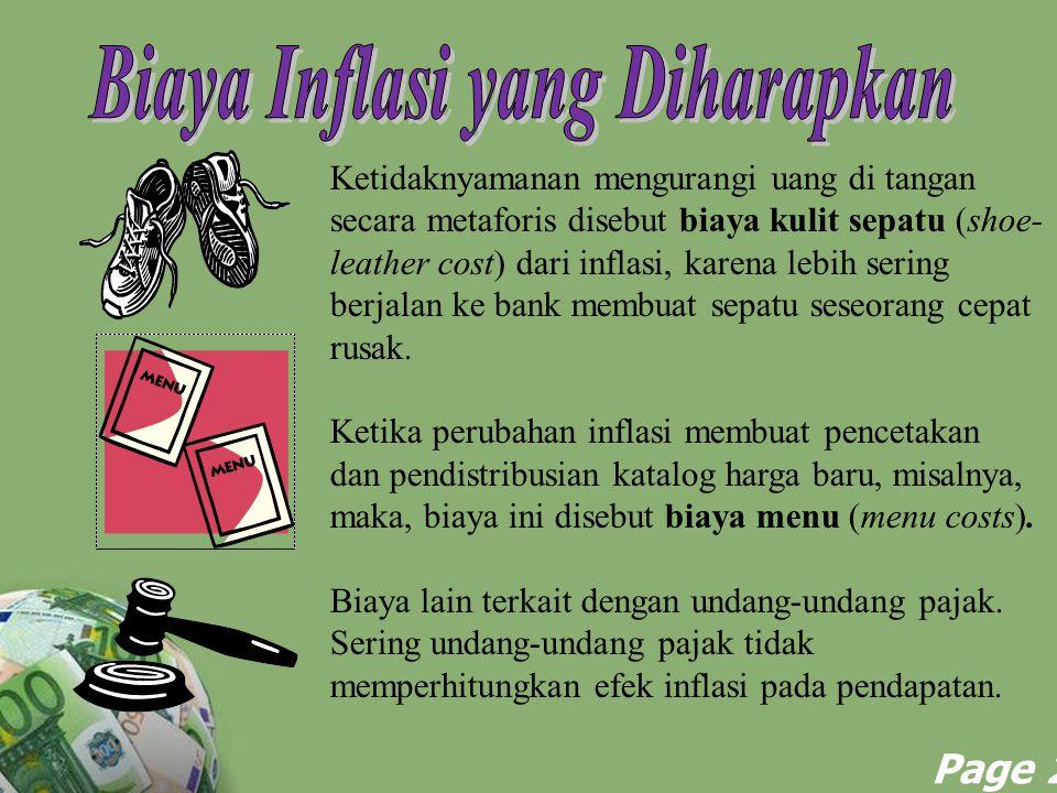 Powerpoint Templates Page 27 Ketidaknyamanan mengurangi uang di tangan secara metaforis disebut biaya kulit sepatu (shoe- leather cost) dari inflasi,