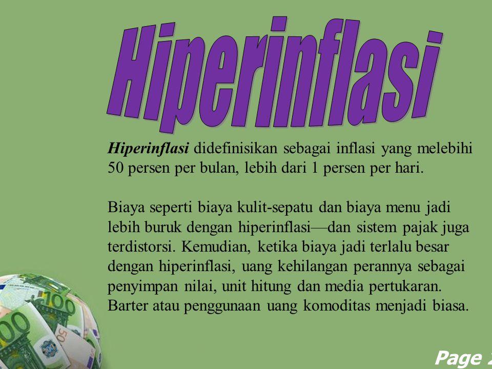 Powerpoint Templates Page 29 Hiperinflasi didefinisikan sebagai inflasi yang melebihi 50 persen per bulan, lebih dari 1 persen per hari. Biaya seperti