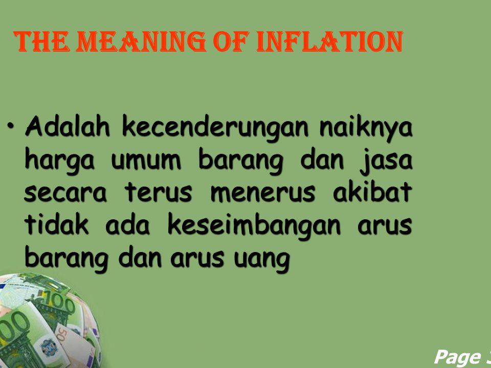 Powerpoint Templates Page 3 THE MEANING OF INFLATION Adalah kecenderungan naiknya harga umum barang dan jasa secara terus menerus akibat tidak ada kes