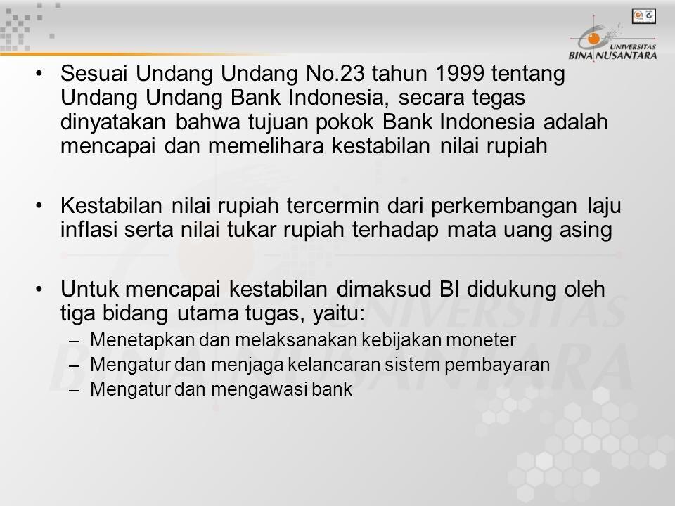Sesuai Undang Undang No.23 tahun 1999 tentang Undang Undang Bank Indonesia, secara tegas dinyatakan bahwa tujuan pokok Bank Indonesia adalah mencapai dan memelihara kestabilan nilai rupiah Kestabilan nilai rupiah tercermin dari perkembangan laju inflasi serta nilai tukar rupiah terhadap mata uang asing Untuk mencapai kestabilan dimaksud BI didukung oleh tiga bidang utama tugas, yaitu: –Menetapkan dan melaksanakan kebijakan moneter –Mengatur dan menjaga kelancaran sistem pembayaran –Mengatur dan mengawasi bank