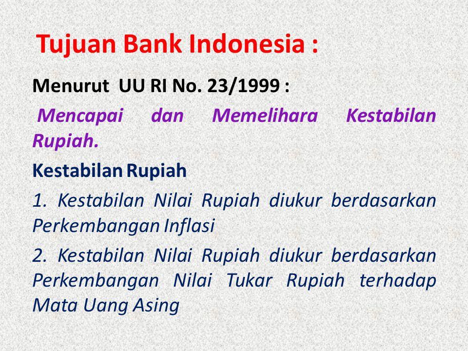 Tujuan Bank Indonesia : Menurut UU RI No. 23/1999 : Mencapai dan Memelihara Kestabilan Rupiah. Kestabilan Rupiah 1. Kestabilan Nilai Rupiah diukur ber