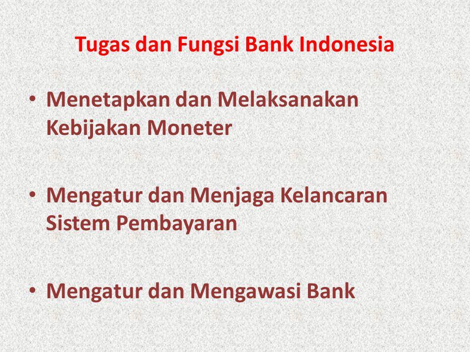 Tugas dan Fungsi Bank Indonesia Menetapkan dan Melaksanakan Kebijakan Moneter Mengatur dan Menjaga Kelancaran Sistem Pembayaran Mengatur dan Mengawasi Bank
