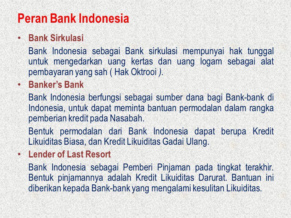 Peran Bank Indonesia Bank Sirkulasi Bank Indonesia sebagai Bank sirkulasi mempunyai hak tunggal untuk mengedarkan uang kertas dan uang logam sebagai a