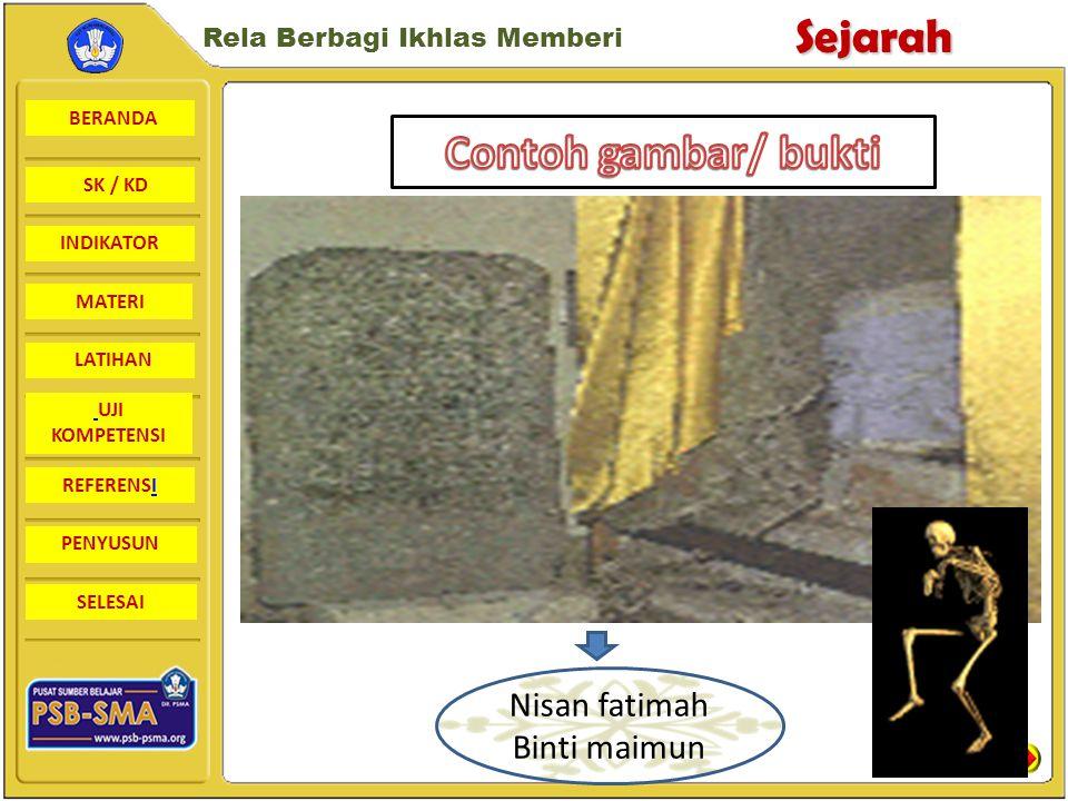 BERANDA SK / KD INDIKATORSejarah Rela Berbagi Ikhlas Memberi MATERI LATIHAN UJI KOMPETENSI REFERENSI PENYUSUN SELESAI Sumber dalam negeri 1 Batu nisan fatimah binti maimun di leran gresik, jawa timur 1082 M 2 Makam sultan Malik Al saleh/ malikus saleh Sumatera Utara 1279 M 3 Makam Syekh Maulana malik Ibrahim (syech maghribi) 1419 M