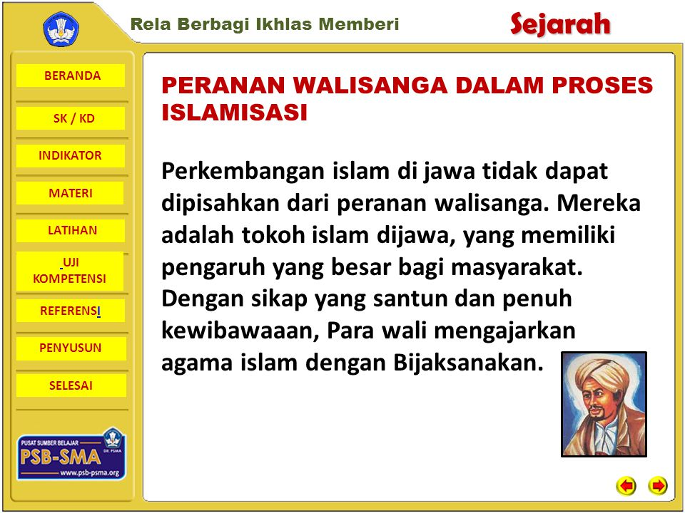 BERANDA SK / KD INDIKATORSejarah Rela Berbagi Ikhlas Memberi MATERI LATIHAN UJI KOMPETENSI REFERENSI PENYUSUN SELESAI Wayang digunakan oleh para wali sanga Untuk menyampaikan Ajaran Islam