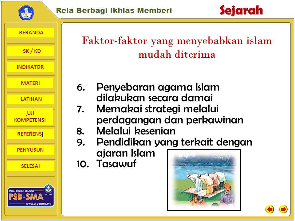 BERANDA SK / KD INDIKATORSejarah Rela Berbagi Ikhlas Memberi MATERI LATIHAN UJI KOMPETENSI REFERENSI PENYUSUN SELESAI Faktor-faktor yang menyebabkan islam diterima di Indonesia 1.Syarat masuk Islam sangat mudah dengan mengucap kalimat syahadat saja 2.Upacara-upacara dalam Islam sangat sederhana 3.Agama Islam yang menyebar ke Indonesia disesuaikan tradisi Indonesia 4.Agama Islam tidak mengenal kasta dan setiap manusia adalah sama