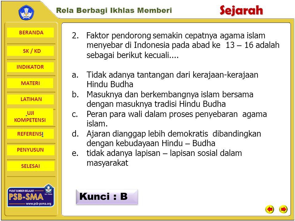 BERANDA SK / KD INDIKATORSejarah Rela Berbagi Ikhlas Memberi MATERI LATIHAN UJI KOMPETENSI REFERENSI PENYUSUN SELESAI UJI KOMPETENSI 1.Bukti yang mengungkapkan bahwa islam telah masuk ke Indonesia pada abad ke 11 adalah....