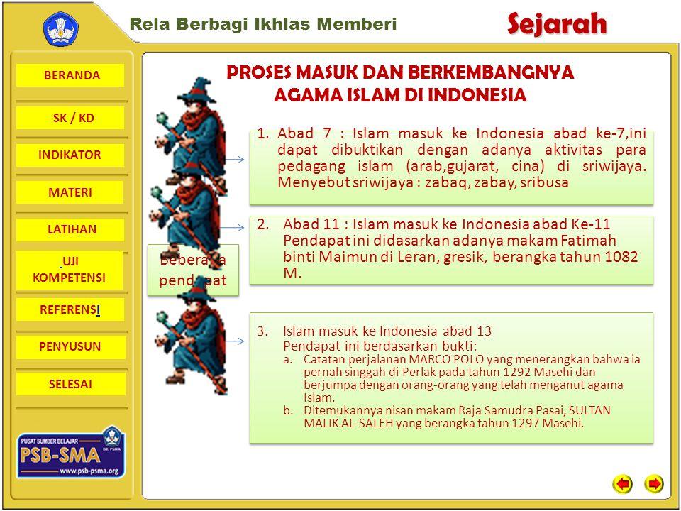 BERANDA SK / KD INDIKATORSejarah Rela Berbagi Ikhlas Memberi MATERI LATIHAN UJI KOMPETENSI REFERENSI PENYUSUN SELESAI PROSES MASUK DAN BERKEMBANGNYA AGAMA ISLAM DI INDONESIA Beberapa pendapat 1.Abad 7 : Islam masuk ke Indonesia abad ke-7,ini dapat dibuktikan dengan adanya aktivitas para pedagang islam (arab,gujarat, cina) di sriwijaya.