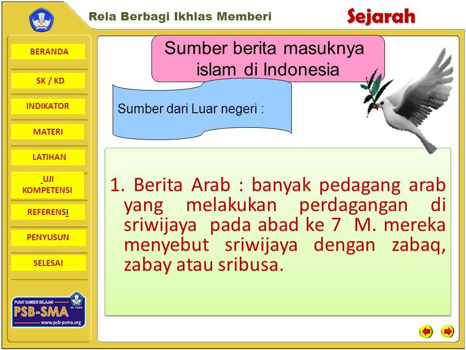 BERANDA SK / KD INDIKATORSejarah Rela Berbagi Ikhlas Memberi MATERI LATIHAN UJI KOMPETENSI REFERENSI PENYUSUN SELESAI Latar Belakang Masuknya Islam ke Indonesia dilihat dari dua sebab,yaitu Terjadi pembauran antar pedagang dari berbagai bangsa serta antara pedagang dan penduduk setempat.