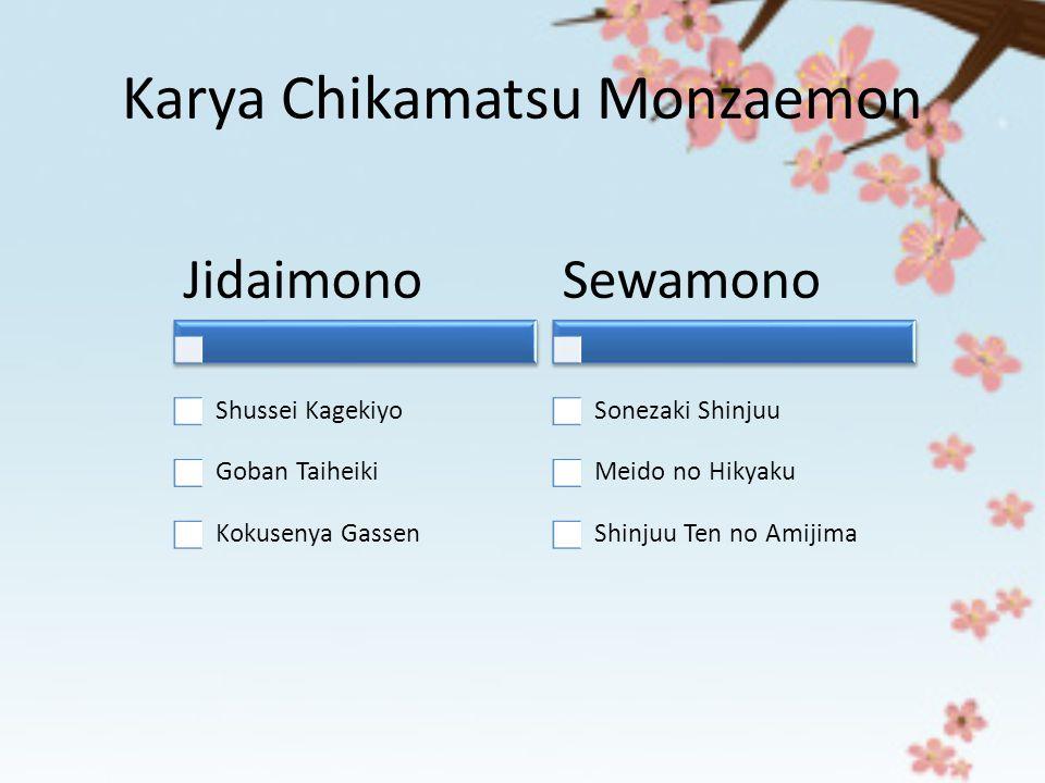 Karya Chikamatsu Monzaemon Jidaimono Shussei Kagekiyo Goban Taiheiki Kokusenya Gassen Sewamono Sonezaki Shinjuu Meido no Hikyaku Shinjuu Ten no Amijim