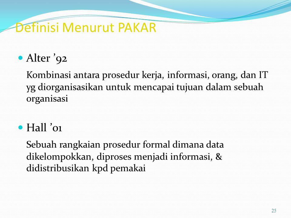 Definisi Menurut PAKAR Alter '92 Kombinasi antara prosedur kerja, informasi, orang, dan IT yg diorganisasikan untuk mencapai tujuan dalam sebuah organ
