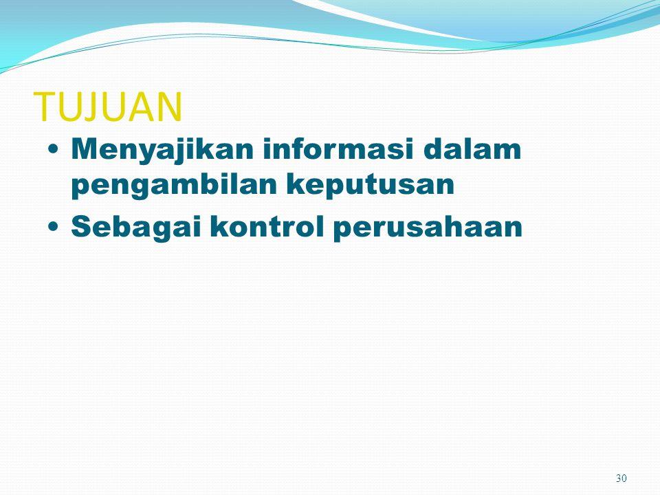 TUJUAN 30 Menyajikan informasi dalam pengambilan keputusan Sebagai kontrol perusahaan