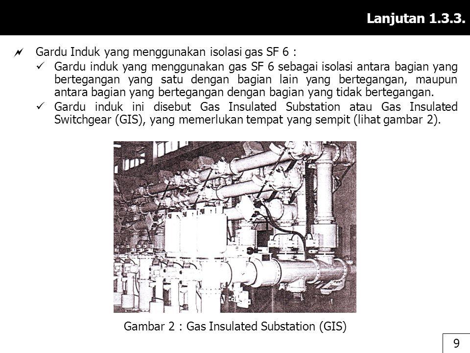 Lanjutan 1.3.3.  Gardu Induk yang menggunakan isolasi gas SF 6 : Gardu induk yang menggunakan gas SF 6 sebagai isolasi antara bagian yang bertegangan