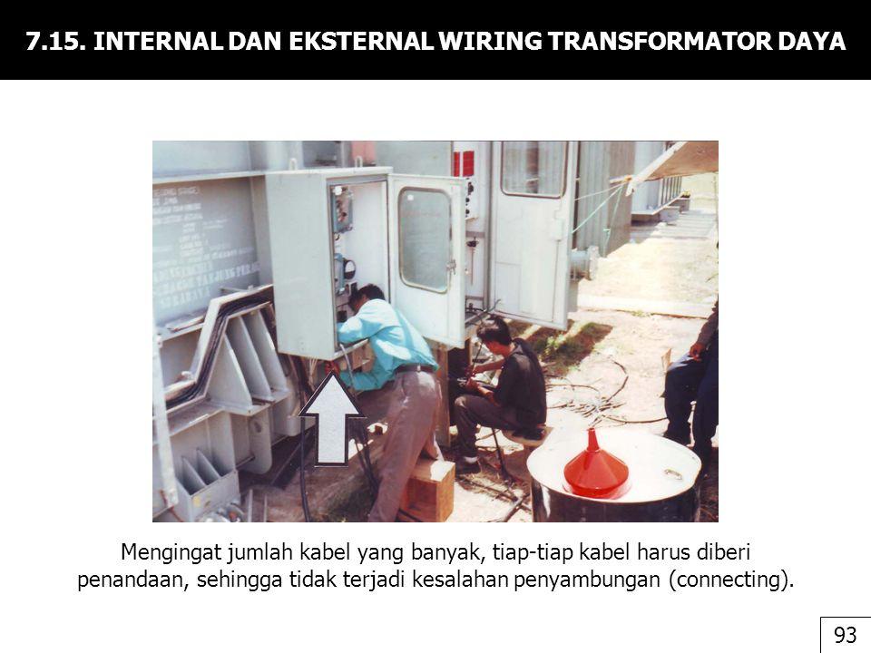7.15. INTERNAL DAN EKSTERNAL WIRING TRANSFORMATOR DAYA Mengingat jumlah kabel yang banyak, tiap-tiap kabel harus diberi penandaan, sehingga tidak terj
