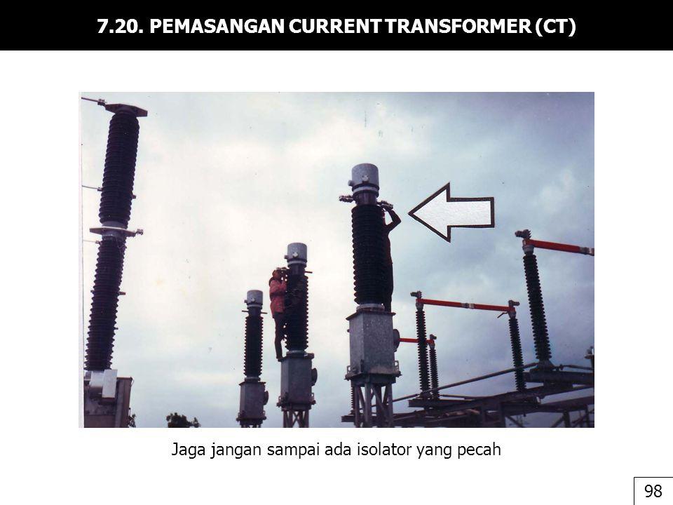 7.20. PEMASANGAN CURRENT TRANSFORMER (CT) Jaga jangan sampai ada isolator yang pecah 98