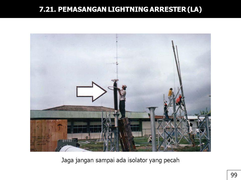 7.21. PEMASANGAN LIGHTNING ARRESTER (LA) 99 Jaga jangan sampai ada isolator yang pecah