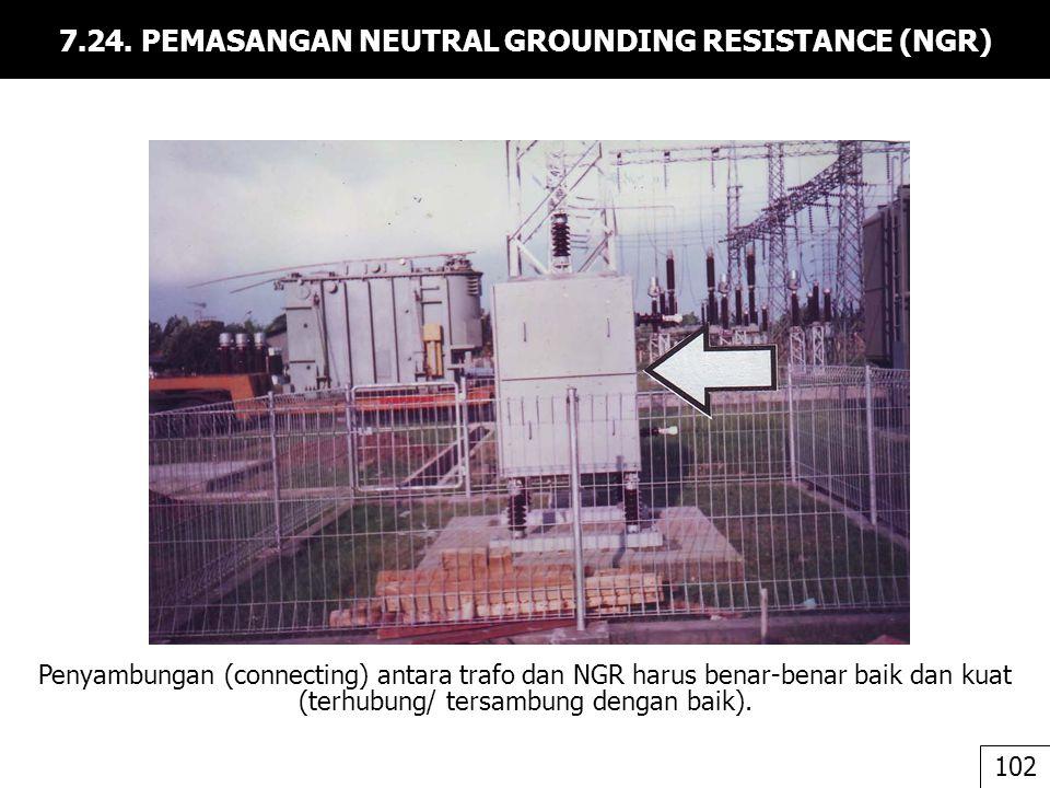 7.24. PEMASANGAN NEUTRAL GROUNDING RESISTANCE (NGR) Penyambungan (connecting) antara trafo dan NGR harus benar-benar baik dan kuat (terhubung/ tersamb