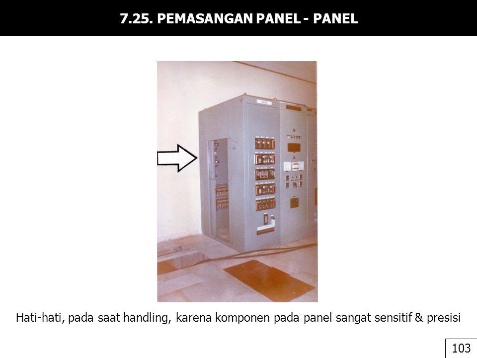 7.25. PEMASANGAN PANEL - PANEL Hati-hati, pada saat handling, karena komponen pada panel sangat sensitif & presisi 103
